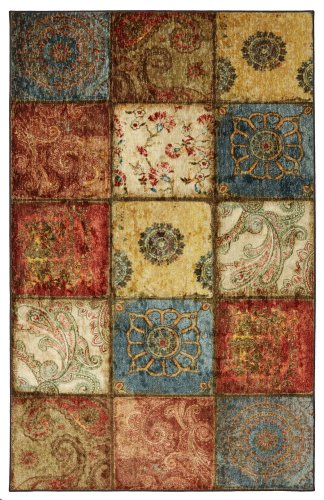 Mohawk Home Free Flow Free Flow Artifact Panel Printed Rug, 8'x10', - Area Rug 10' Gold Square