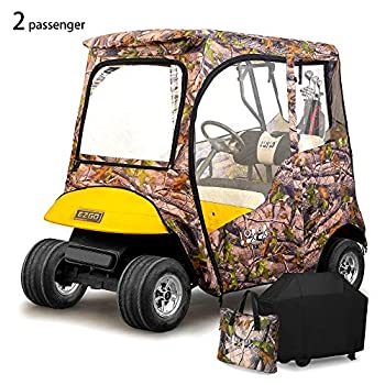 Image of 10L0L 2 Passenger Golf Cart Driving Enclosures for EZGO TXT, 600D Waterproof Portable Transparent Golf Cart Cover Storage Enclosure - 4-Sided (Roof up to 59' L) Golf Cart Accessories