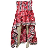 Mogul Interior Womens High Low Skirt Recycled Sari Full Flare Twirling Ruffle Vintage Belly Dance Skirts