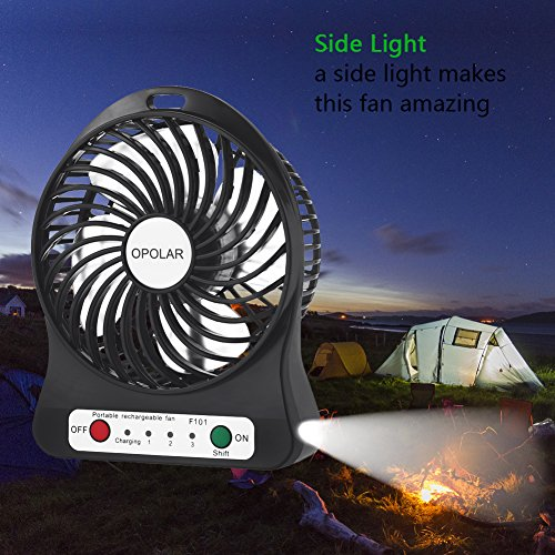OPOLAR Rechargeable Handheld Mini USB Fan, Desk and Outdoor Fan,with 2200mAh Battery and Side Light-Black (3 Settings, 3.9ft Cable) for Travel, Home and Office-F101B Photo #6