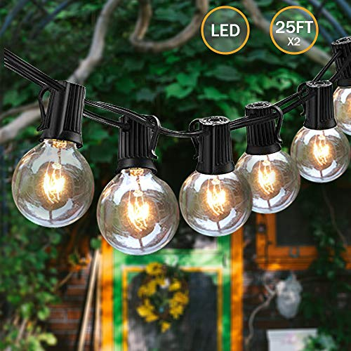 (Svater Waterproof Outdoor String Lights 2x25FT LED Commercial Grade Patio Lights with 23 Hanging Socket 25 G40 Bulbs Connectable Ambience Pro Indoor Outdoor Lights for Cafe Garden Backyard Party)