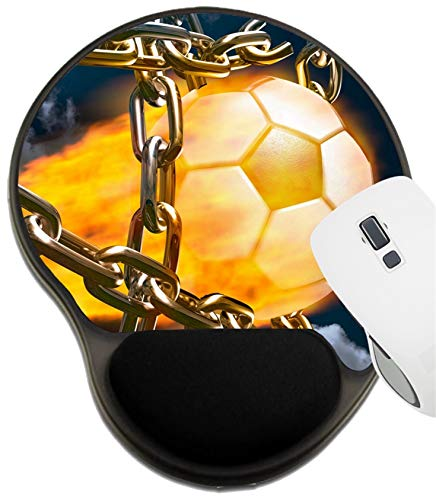 MSD Mousepad Wrist Rest Protected Mouse Pads, Mat with Wrist Support, Burning Soccer Ball Tearing Chains Apart Making Goal Abstract Competition Concept I