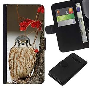 KLONGSHOP // Tirón de la caja Cartera de cuero con ranuras para tarjetas - bayas de invierno halcón presa pájaro de la nieve - Samsung Galaxy A3 //
