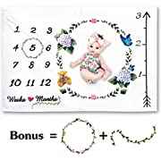 Microplush Ultra Soft Baby Monthly Milestone Blanket + Bonus Floral Wreath Marker   Premium Minky Double-Sided Fleece   Large 60 x 40 Size   Will Not Wrinkle or Fade  Gift Wrapped   Newborn Photo Prop