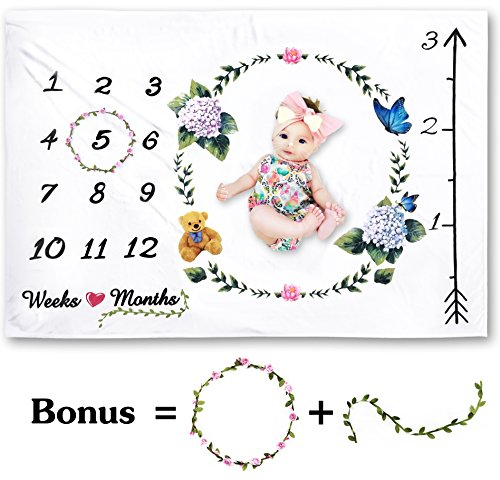 60' Plush Blanket (Microplush Ultra Soft Baby Monthly Milestone Blanket + Bonus Floral Wreath Marker | Premium Minky Double-Sided Fleece | Large 60 x 40 Size | Will Not Wrinkle or Fade| Gift Wrapped | Newborn Photo Prop)