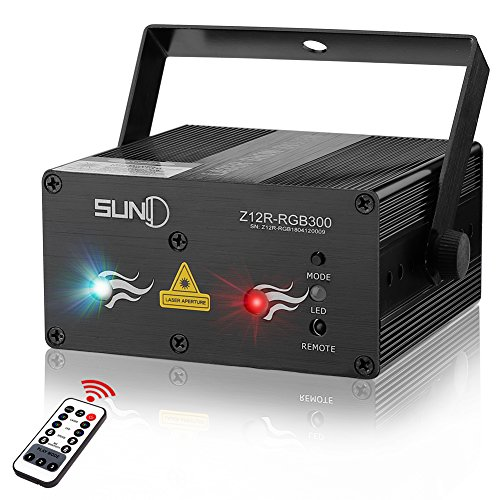 SUNY Laser Lights Music Laser Projector 12 Gobos in Green Blue Laser Light Mixed Red Stars Effect Remote Control Sound Activated Stage Lighting Party Dance Home Decorative Xmas Holiday DJ Light Show ()