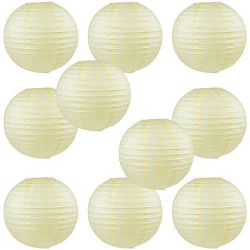 WYZworks Round Paper Lanterns 10 Pack (Ivory Cream, 10'') - with 8'', 10'', 12'', 14'', 16'' option by WYZworks
