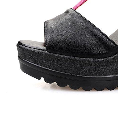 Allhqfashion Peep-teengesp Van Vrouwen Koeienleer Diverse Kleuren Sandalen Met Hoge Hakken Rood