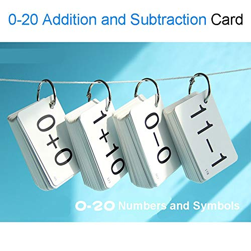 NUTY DESTY Math Flash Cards 0-20 Math Cards Addition&Subtraction Arithmetic Card Babycards Flash Cards Educational Toys for Children by NUTY DESTY