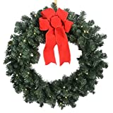 24in Balsam Christmas Wreath LED Lights Battery Operated + Timer (Small Image)