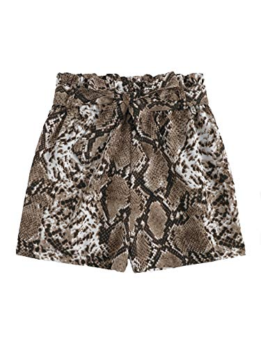 SweatyRocks Women's Casual Elastic Waist Seft Tie Summer Beach Snakeskin Printed Shorts with Pockets Small