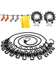 Roctee 3 Pack Portable Clothesline, Travel Adjustable Windproof Clothesline with 12pcs Clips, Stretchy Retractable Elastic Laundry Clothes Line for Backyard, Vacation Hotel, Balcony (Black)