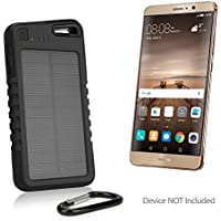 Huawei Mate 9 Battery, BoxWave [Solar Rejuva PowerPack (5000mAh)] Solar Powered Backup Power Bank for Huawei Mate 9 - Jet Black