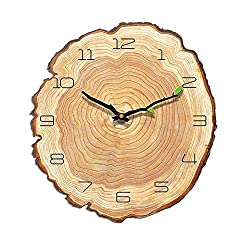 JUSTUP Annual Ring Wall Clock, 12in Wooden Non-Ticking Wall Clock Battery Operated Creative Irregular Decorative Silent Clock for Kids Room Living Room Indoor (Annual Ring 12)
