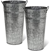 Arbor Lane Rustic Metal Flower Vase -13 Inch - French Bucket - Farmhouse Style - Set of 2 (Pewter Gray)