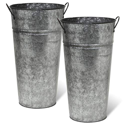 Arbor Lane Rustic Metal Flower Vase -13 Inch - French Bucket - Farmhouse Style - Set of 2 (Pewter -