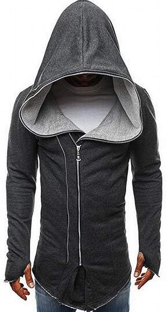 WAWAYA Mens Cloak Hooded Mid Length Drawstring Casual Cardigan Trench Coat Outerwear