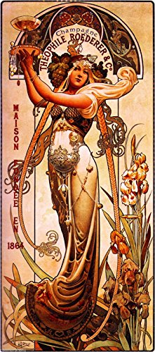 1864 Champagne The Ophile Roederer & Co. Beautiful Woman Classic French Nouveau by artist Alphonse Mucha Vintage France Travel Advertisement Picture Poster Print. Picture measures 5 x 13.5 inches. ()