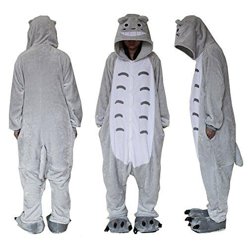Extérieur en polaire Dessus Totoro Combinaison Unisexe Cosplay Costume à capuche/pyjama/veille Porter