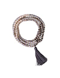 KELITCH Crystal AB Beaded Long Necklace Tassel Pendant Women Strand Bracelet Summer