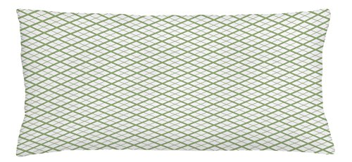 Ambesonne Green Throw Pillow Cushion Cover, Picnic Table Inspired Modern Geometric Pattern in Square Shapes Retro, Decorative Square Accent Pillow Case, 36 X 16 Inches, Pistachio Green and White