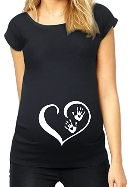 ca5355f6508ab HAPPYBERRY Women Maternity T Shirt Funny Graphic Tee Cute Tops for Pregnancy  Black Small
