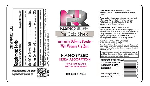 Nano Rush Pre Cold Shield Vitamin C and Zinc Boost Immune System Defense Booster Prevent Cold Remedies with Nanotechnology 1 Oz Apple Pear Flavor Spray 30 Day Supply Discount