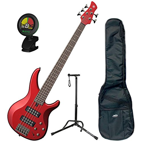Red 5 String (Yamaha TRBX305 CAR TRBX-305 Candy Apple Red 5 String Bass Guitar w/ Gig Bag, Stand, and)
