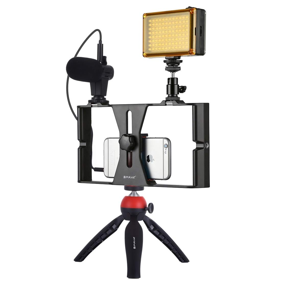 JIN Camera Accessory 4 in 1 Vlogging Live Broadcast LED Selfie Light Smartphone Video Rig Kits with Microphone + Tripod Mount + Cold Shoe Tripod Head for iPhone, Galaxy, Huawei, Xiaomi, HTC, LG, Googl by JIN-US