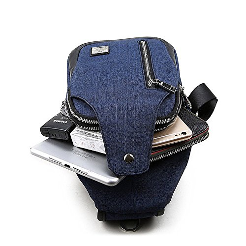 Sling Bag Chest Shoulder Backpack Crossbody Bags for Men Women Travel Outdoors (Large blue) by TUOWAN (Image #5)