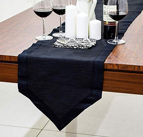 (The White Petals Black Dining Table Runners (Faux Silk, V-End Border, 14x120 inch, Pack of 1))