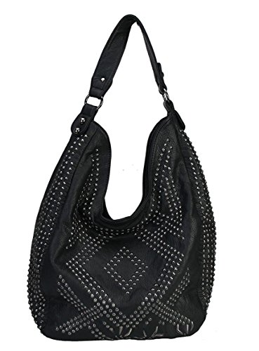 rimen-co-solid-rhinestone-bling-pattern-style-hobo-zippered-closure-leather-purse-handbag-black