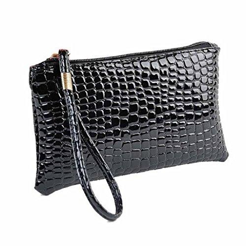 Ularma Bolso de mano, Artificial cocodrilo cuero bolso monedero de la mujer (negro) negro