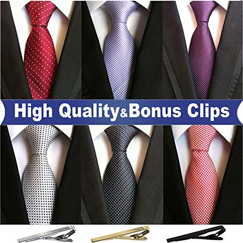 Jeatonge Lot 6 Pcs Mens Ties and 3 Free Tie Clips, Men's Classic Tie Necktie Woven Jacquard Neck Ties (Style 13)