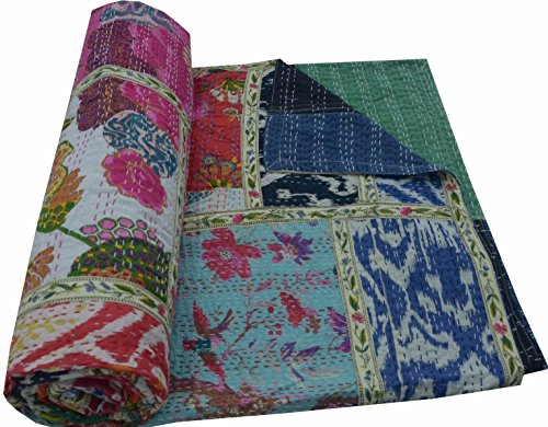 V Vedant Designs Indian Cotton Kantha Quilt Throw Blanket Bedspread Vintage Throw Gudari Cotton Handmade Kantha Quilt (Mix Patch) (Best Cotton Fabric In India)