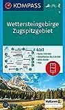Wettersteingebirge, Zugspitzgebiet: 4in1 Wanderkarte 1:50000 mit Aktiv Guide und Detailkarten inklusive Karte zur offline Verwendung in der ... 1:50 000 (KOMPASS-Wanderkarten, Band 5)