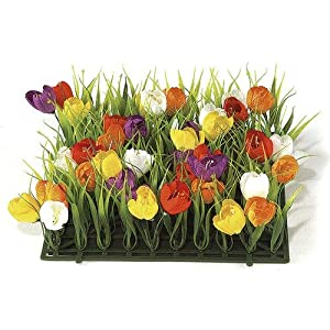 10 Inch Crocus and Plastic Grass Mat - Multi-Colored Signature Foliage 113