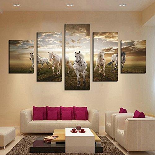 GEVES Framed 5 pcs Art Prints Pictures Running Horses Large