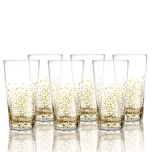 Fitz and Floyd 229700-6HB Luster Highball Set of 6 - Elegant Lead-Free Matching Drinkware Perfect for Everyday Use Or Entertaining - Stylish Modern Glasses. an Ideal Gift, 3.3x5.9