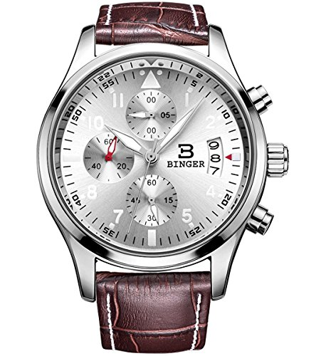 BINGER Mens Fashion Business Casual Multifunction Quartz Wrist Watch Leather Band - (Watch Chrome Leather Band)