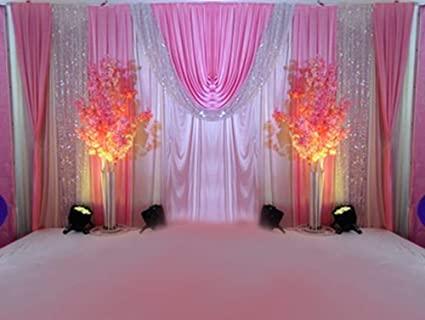 Lb Romantic Wedding Stage Backdrop Swags Curtains Silk Fabric Sliver Sequin Backdrop Drape Party Decorations Backdrop For Wedding Birthday Party