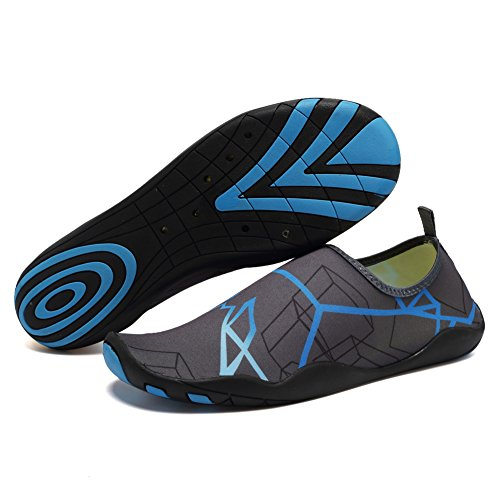 CIOR Men and Women's Barefoot Quick-Dry Water Sports Aqua Shoes With 14 Drainage Holes For Swim, Walking, Yoga, Lake, Beach, Garden, Park, Driving, Boating,DND002,Grey,43 2