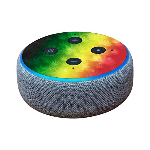 MightySkins Skin for Amazon Echo Dot (3rd Gen) - Rasta Rainbow | Protective, Durable, and Unique Vinyl Decal wrap Cover | Easy to Apply, Remove, and Change Styles | Made in The USA
