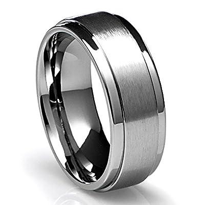 8MM Men's Titanium Ring Wedding Band with Flat Brushed Top and Polished Finish Edges