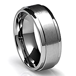 8MM Men's Titanium Ring Wedding Band with Flat Brushed Top and Polished Finish Edges
