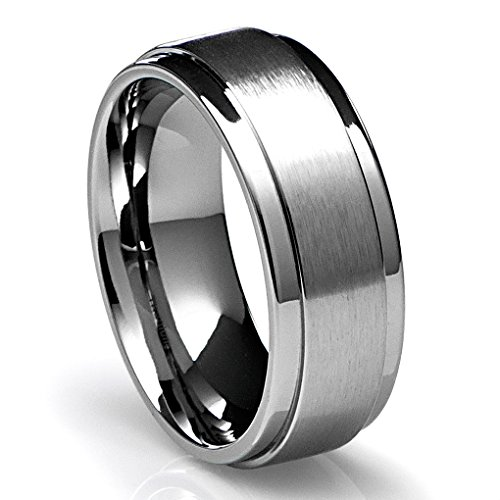 Titanium Polished Finish - 8MM Men's Titanium Ring Wedding Band with Flat Brushed Top and Polished Finish Edges [Size 7.5]