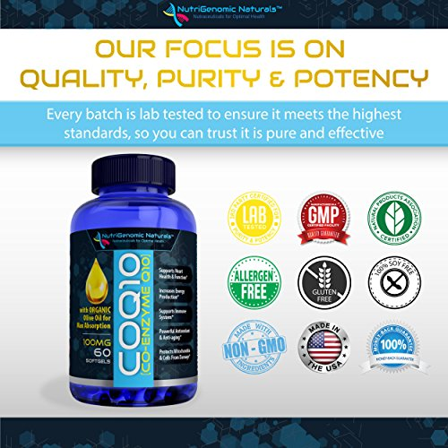 CoQ10, Co-Enzyme Q10, Highest Absorption with Organic Olive Oil, 100mg, 60 Softgels, Ubiquinone, Ubiquinol, Supports Heart Health, Increases Energy, Pure, Natural, Effective, NutriGenomic Naturals™