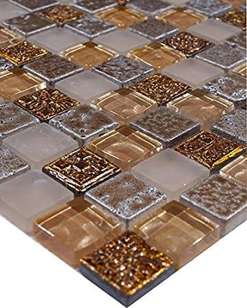 Glas Naturstein gold braun beige Antik Küche Wand Boden Art:WB92-12061 Matte