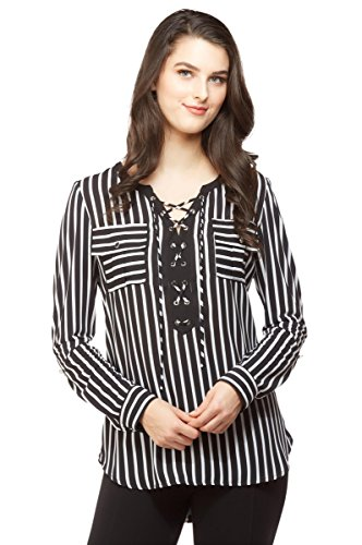 NYGARD SLIMS Petite Lace-Up Mixed Media Blouse WhtBlkStripe PM