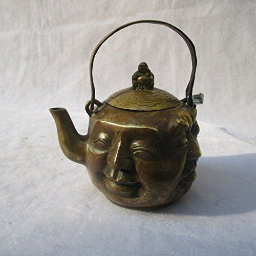 EASTCODE Chinese Antique Tea pot,Old CopperHandwork Carved 4 different face buddha Pot,Vintage Metal Flagon